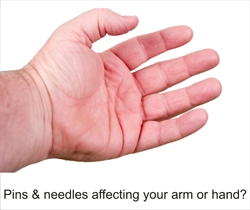 """A question; """"Is pins & needles affecting your hand?"""" with image showing a hand."""