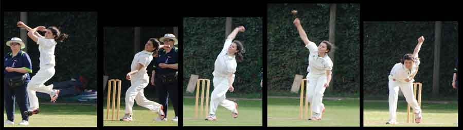 Images showing different stages of bowling a cricket ball